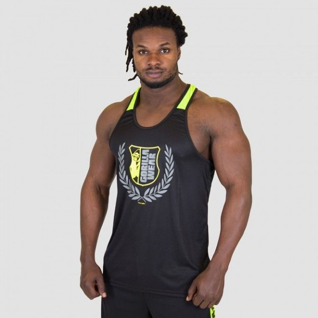 Gorilla Wear Lexington Tank Top - Black/Neon Lime